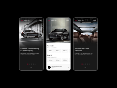 Audi Shared Fleet Reservation Flow dark uiux ui design mobile ui handsome