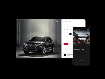 Audi Shared Fleet Desktop mobile dark car dashboard marketing ui handsome