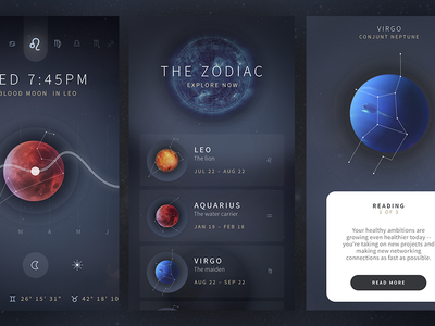 Astrology App Cont. astrology dark ux ui space handsome