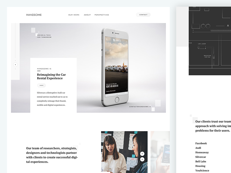 Handsome 2016 gold gray photography marketing white clean ux ui handsome