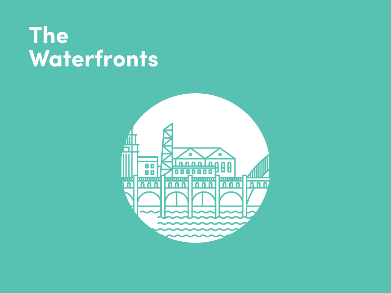 The Waterfronts  cleveland waterfronts illustration city