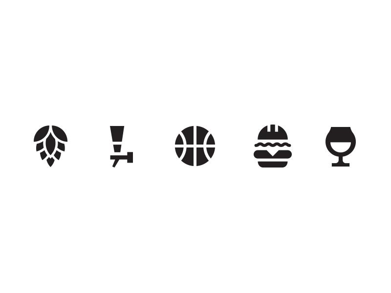 Bar icons  burger beer basketball icon