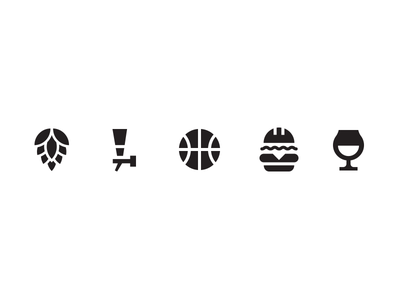 Bar icons  burger beer basketball icon
