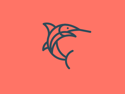 Fish mark illustration marlin identity logo icon fish