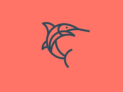 Fish mark illustration marlin identity logo icon fish