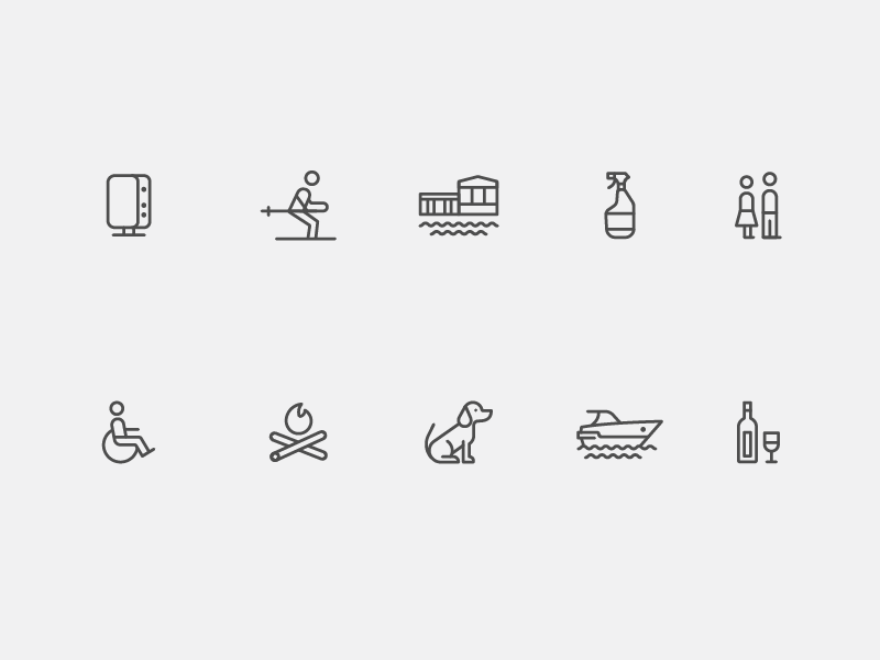 Vaystays icons  boat campfire wifi ski home iconography icon