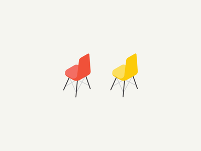 Isometric Eames chairs  isometric eames chairs illustration