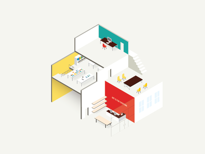 Submission process mac eames building icon illustration isometric