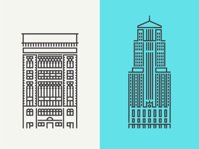 Chicago buildings illustration icon board of trade athletic association chicago
