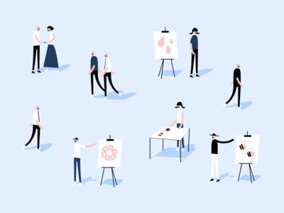 Projects Fair 🎡💻👨🏽💻 uwaterloo science fair uw blueprint minimal design flat people vector illustration
