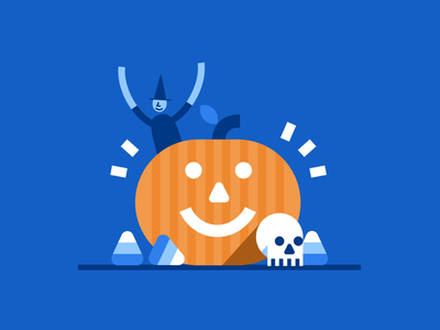 Blueprint Halloween candy corn pumpkin halloween flat illustration uw blueprint