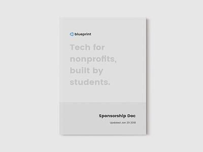 Blueprint Sponsorship Doc student technology social good booklet magazine design minimalist minimal print design