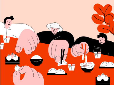 Friday Night Takeout 🥡 dumplings family food dining vector chinese food takeout illustration