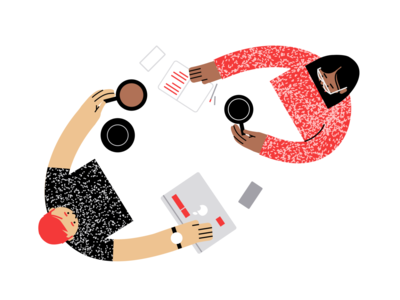 One on one's teamwork collaboration vector illustration illustration coffee meetings