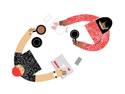 One on one's teamwork collaboration vector illustration illustration coffee meetings