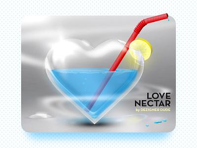 Sweet Nectar adobe crystal clear glass lemonade healthy drinks a drink for health drops of liquid light swirls red straw blue water lemon heart shape love