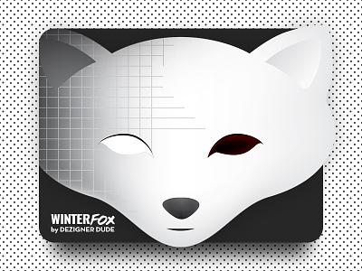 Winter Fox brand identity straight face sober white grey burgundy customisland vector face illustration clever animal white fox snow winter fox custom logo design