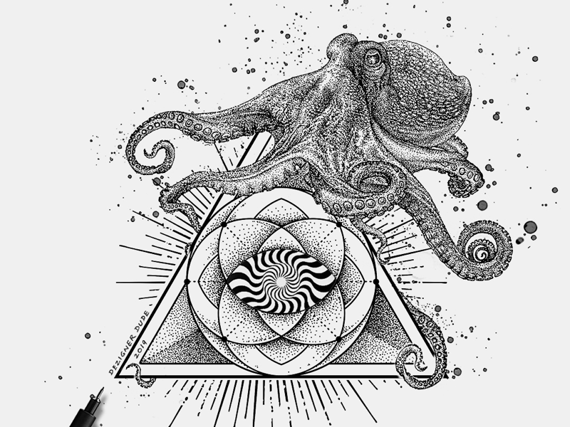 Behind the Eye submerge music music album art detailed illustration dot work stippling underwater rays octopus mandala triangle kraken