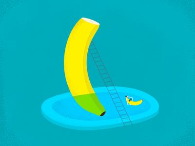 Random Illustration Series - Banana In A Pool