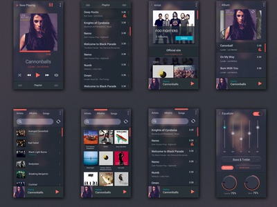 Free Music Player UI Kit for Android photoshop ui kit free android mobile user interface design