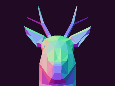 Abstract Low Poly Traingle Polygonal Deer Head With Horns horns with head deer polygonal traingle poly low abstract