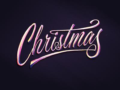 Christmas Chrome christmas cursive script lettering procreate script hand lettering custom lettering typography lettering