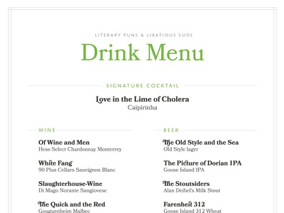 Booked Themed Wedding: Drink Menu menu domus titling bookmania typography puns