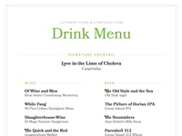 Booked Themed Wedding: Drink Menu