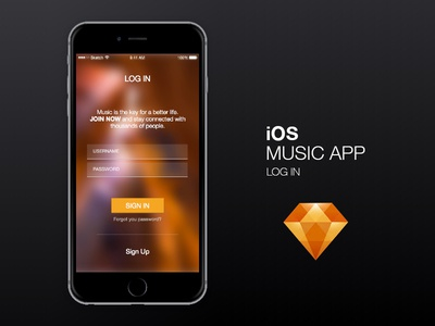 iphone 6 music app login by andrew chi dribbble. Black Bedroom Furniture Sets. Home Design Ideas