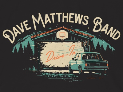 Streaming Concert Series T-shirt pines trees basketball hoop projector film car driveway bmw drive in garage dave matthews band