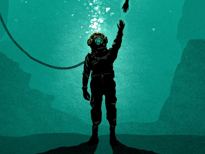Poster Art deep sea diver poster illustration
