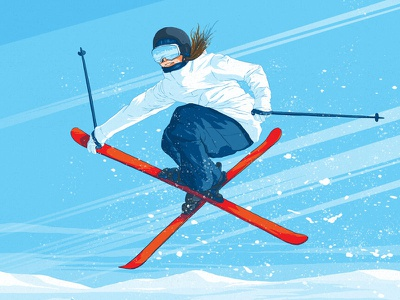 Ski Event Poster x skier jump slope downhill snow freestyle iron cross ski