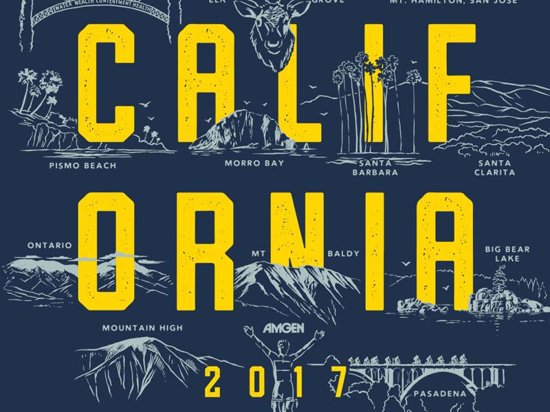 Tour of California T-shirt Winner by Matthew Fleming on Dribbble