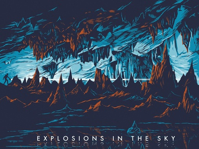 Explosions In The Sky Poster concert poster gig poster pond stalactite stalagmite underground flashlight spelunker cave
