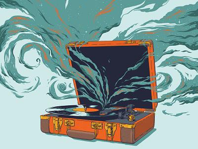 Record Player smoke 33rpm turntable lp vinyl record suitcase