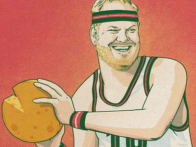 Jim Gaffigan in Milwaukee food halftone sport basketball milwaukee cheese comedy jim gaffigan