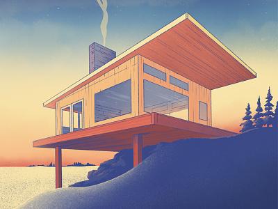 Cabin architecture modern midcentury mcm illustration procreate cabin