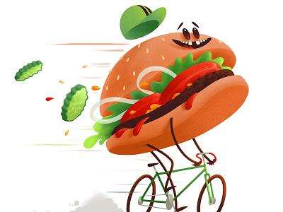 Burger Cyclist procreate illustration character anthropomorphic hamburger cyclist cyling bicycle bike burger