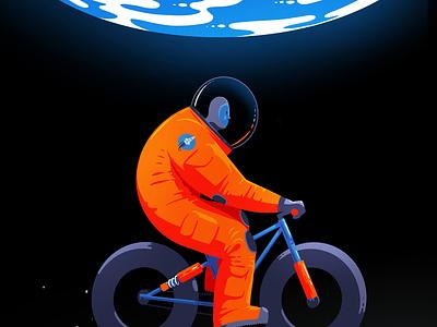 Lunar Bike procreate astronaut lunar earth moon space cycling cyclist bicycle bike