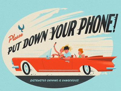 Put Down Your Phone! procreate bird texting driving psa family phone car vintage