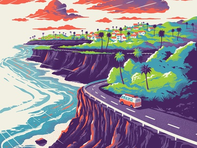 Green Flash Brewery - West Coast IPA palm trees label design package sunset cliffs surf van beer ipa west coast coast california san diego