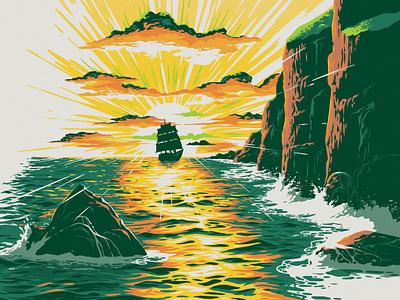 Green Flash Brewery Celtic Sun IPA brewery beer label beer art beer branding waves clouds rocks water cliff sea ocean sunset whiskey irish ipa beer green flash
