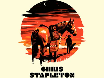 Chris Stapleton Columbia, MD Poster sunset speakers screen print western music guitar horse gig poster concert poster poster illustration chris stapleton