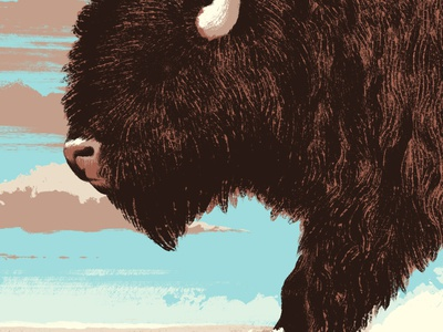 Explosions In The Sky Poster plains storm dust farm bison buffalo gig poster illustration poster