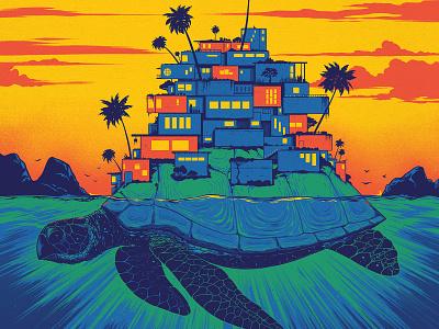 Dave Matthews Band Brazil Poster clouds palm tree ocean sea sunset village turtle gig poster illustration poster brazil