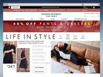 Banana Republic Factory August Homepage Refresh photoshop branding fashion desktop web design web user interface ui