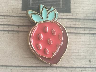 Goorin Enamel Strawberry wearables wearable strawberry hand drawn enamel pin enamel