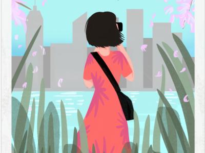 Grassroots Go-Getter book cover illo city water nature hand drawn illustration procreate