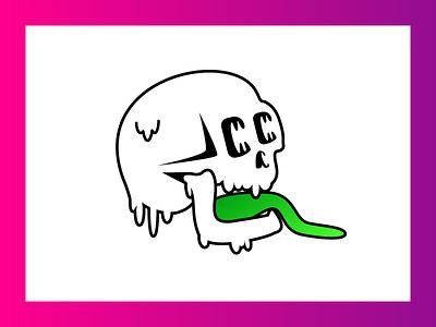Skull sticker sticker tounge gradient skull