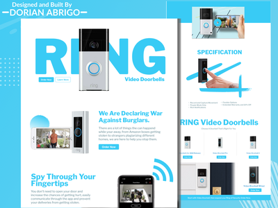 Ring (from Shark Tank) Landing Page ecommerce design concept clean branding website web web design uiux ux ui type typography texture symbol simple photoshop modern minimal graphic design